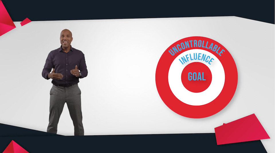 motivational speaker Arel Moodie standing against white background with red target